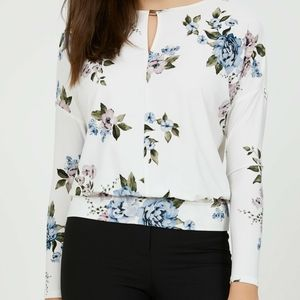 Suzy Shier | Long Sleeve Flower Print Blouse